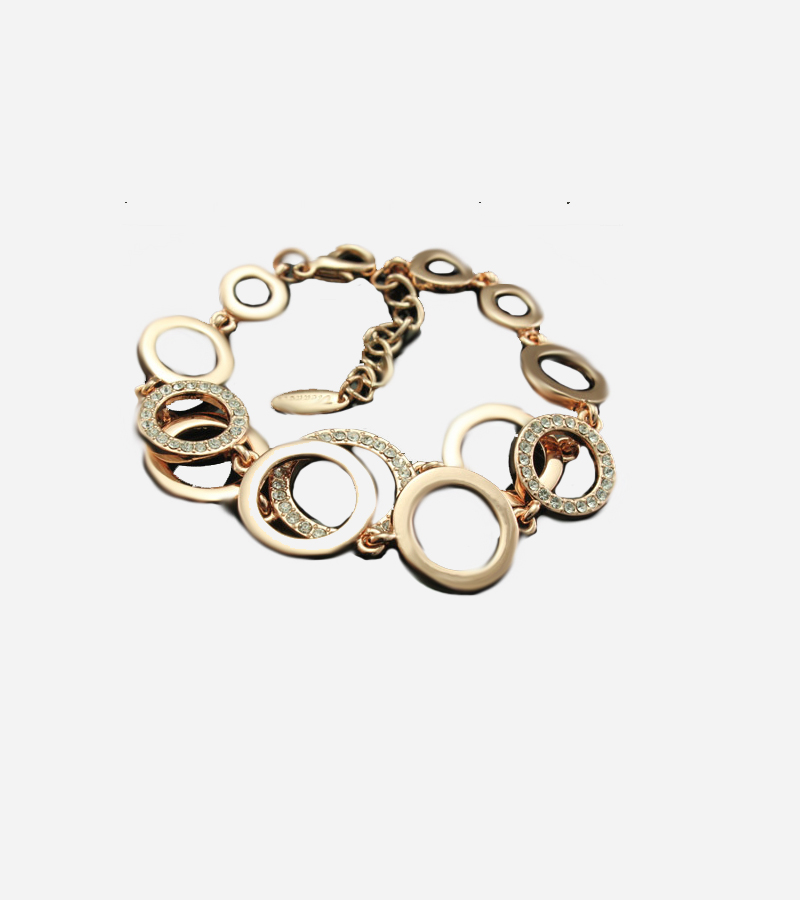 Gold Plated Clear Swarovski Crystal Chain & Link Bracelet