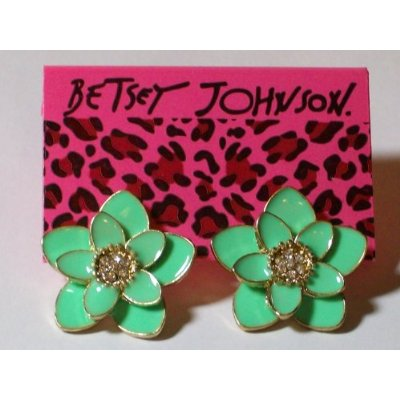 Green Dahlia Enamel & Crystal Earrings
