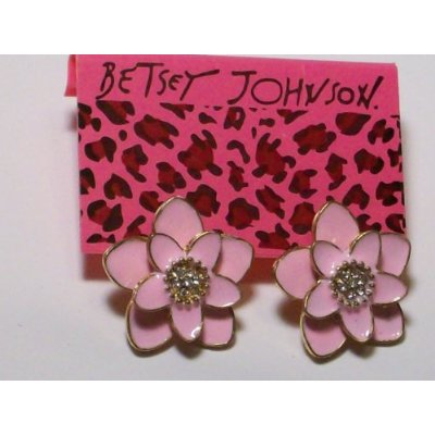Pink Dahlia Enamel & Crystal Earrings
