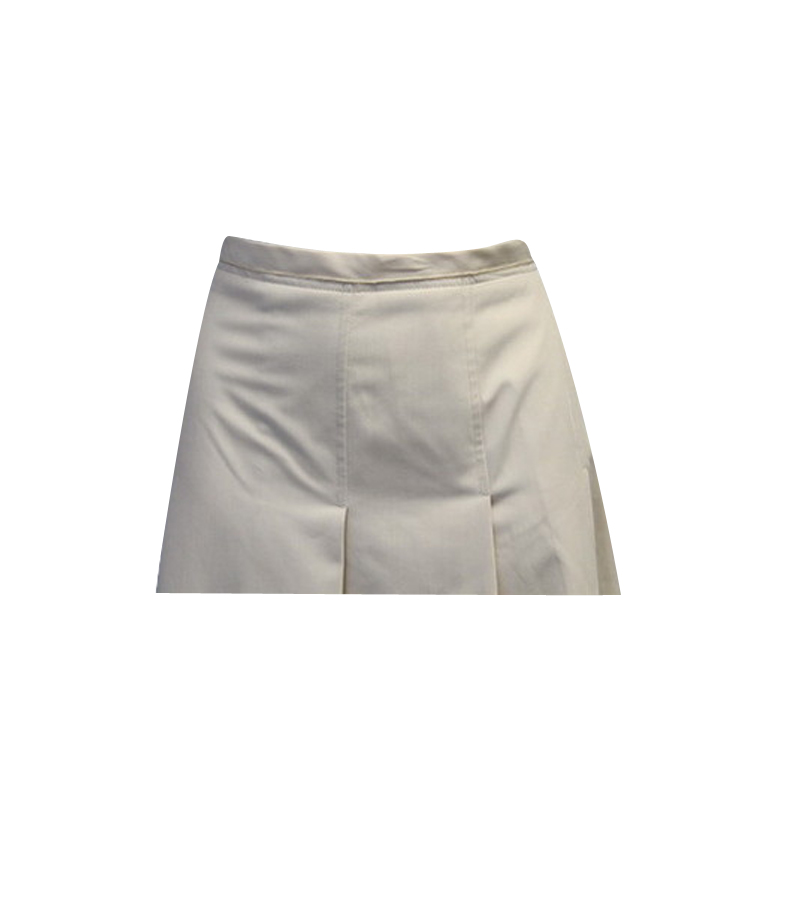 Ivory Pleated Knee Length Skirt