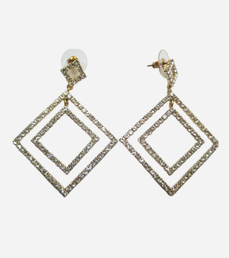 Double Square Hoop Zirconia Earring
