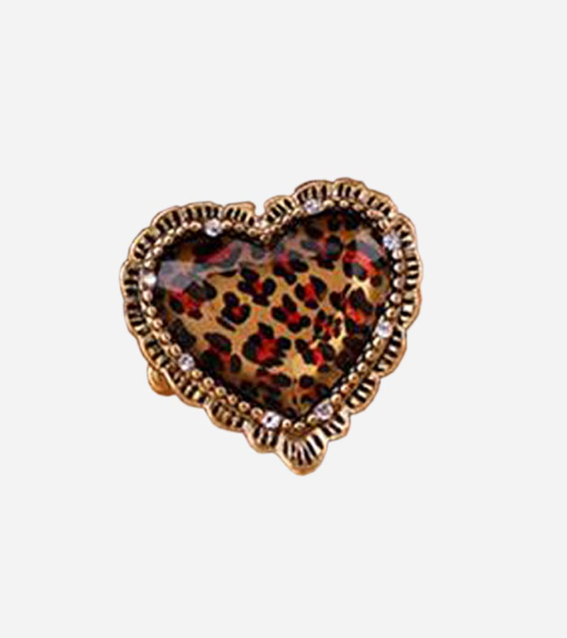 Leopard Heart Stretch Ring
