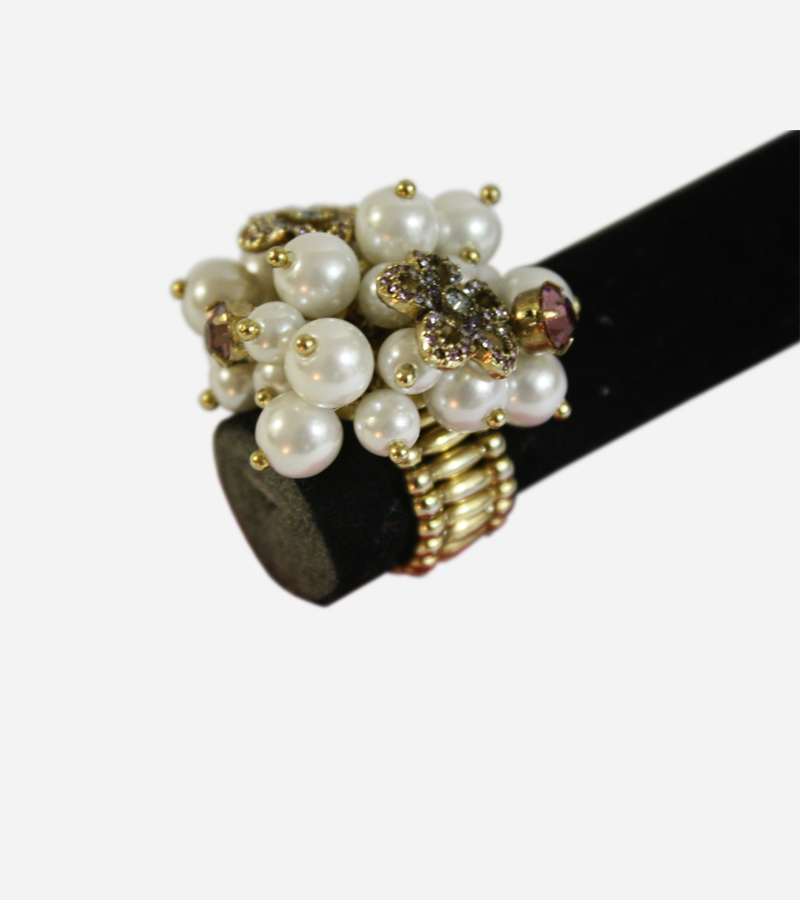 Stretch Pearls Crystal Flowers Ring