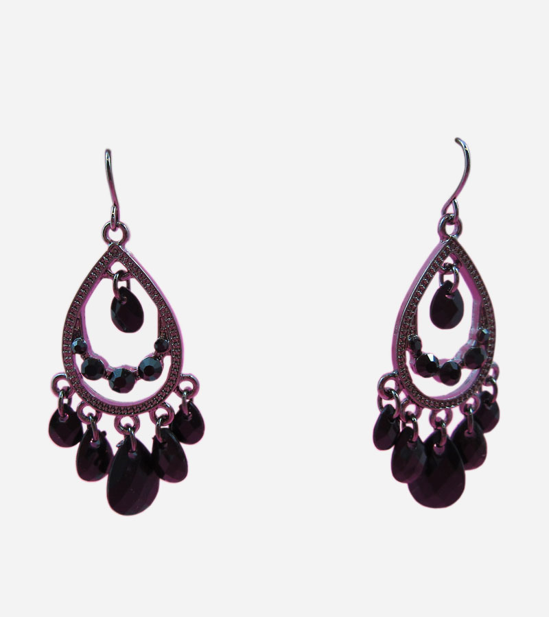 Black Chandelier Dangle Earring