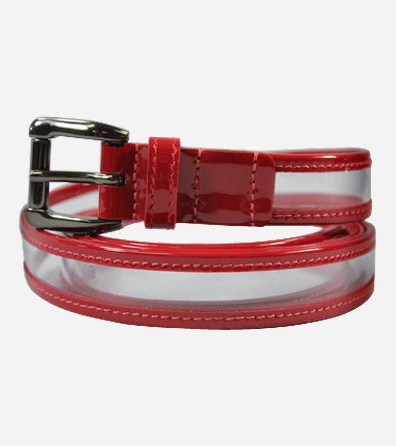 Red Clear Plastic Patent Leather Belt
