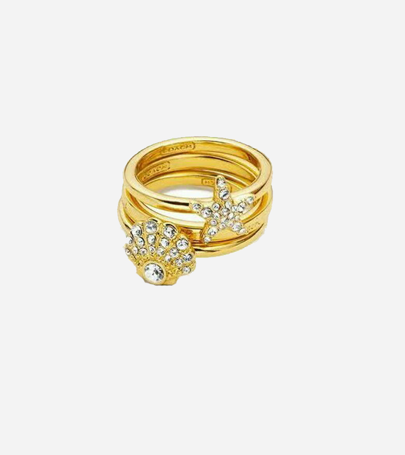PAVE STACKING BEACH SHELL SEA STAR RING SET