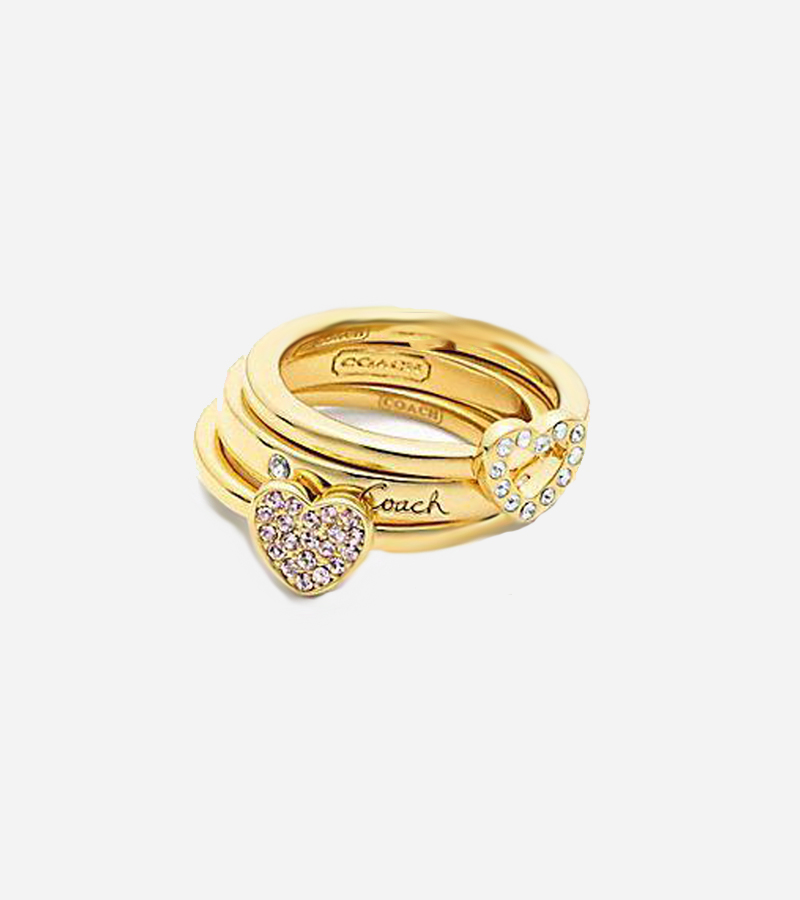PAVE STACKING HEART RING SET
