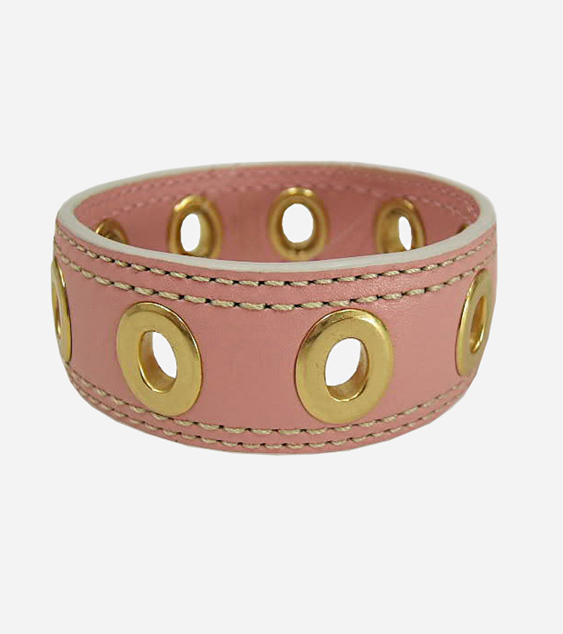 Pink Grommet Leather Bracelet