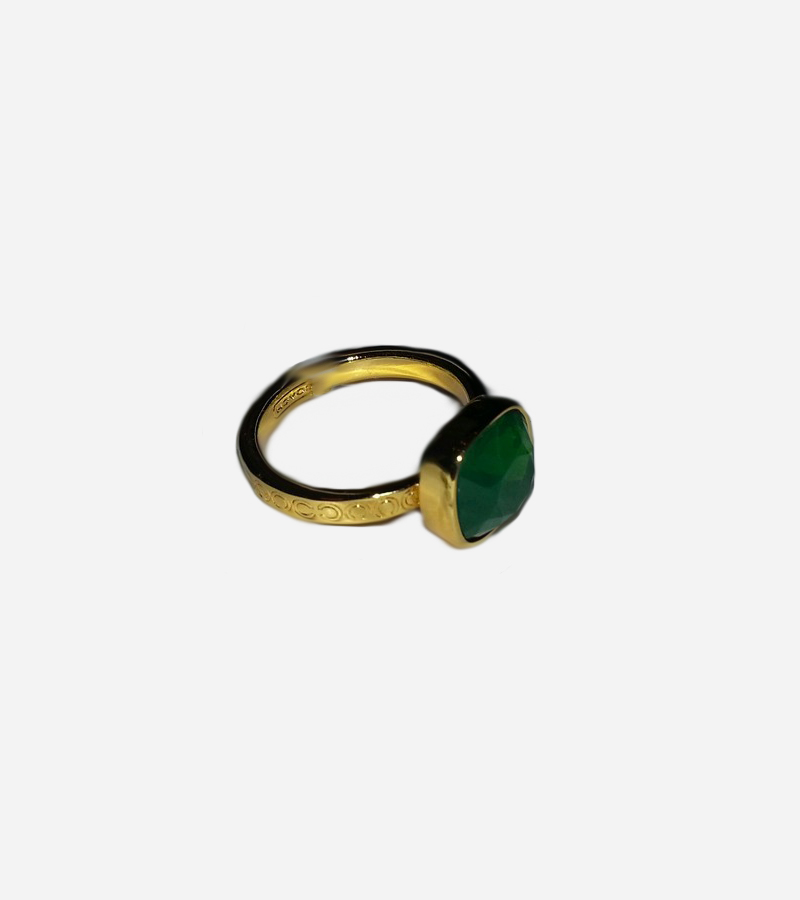 SQUARE GREEN STONE GOLD RING