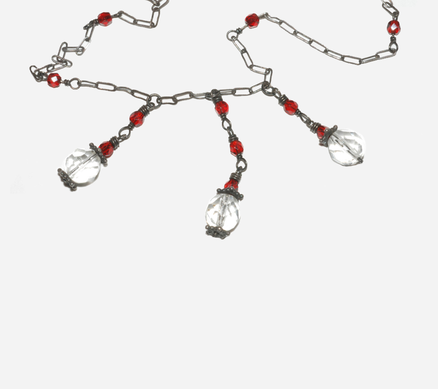 Estate Antique Silver Chain Crystal Garnet Glass Beads Necklace