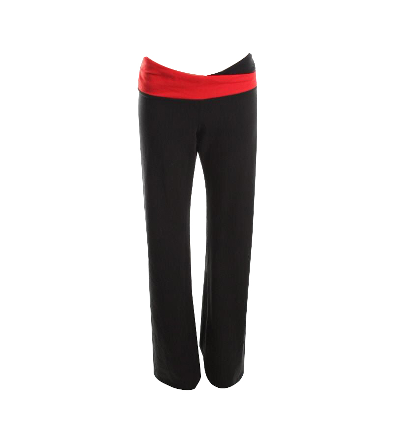 Black Stretch Ruche Yoga Pants