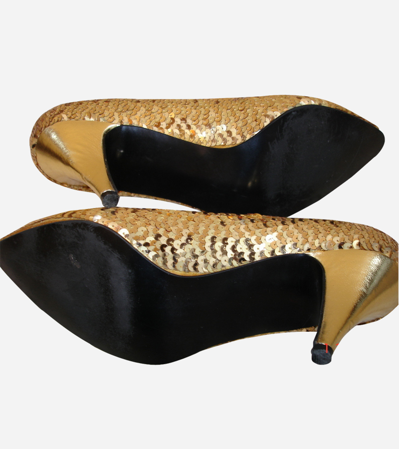 Gold sequin satin shoes matching purse