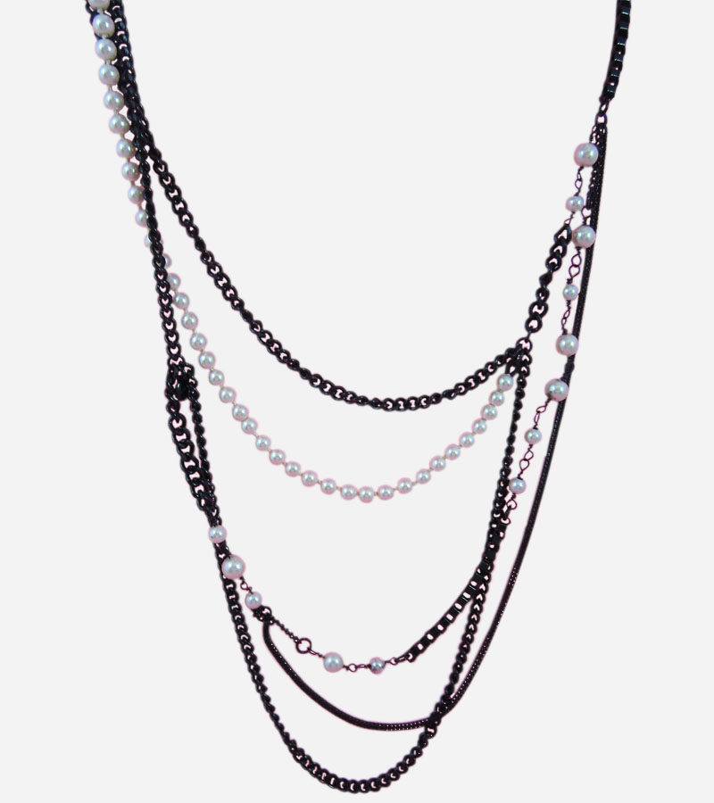 Multi Chains Pearls Necklace