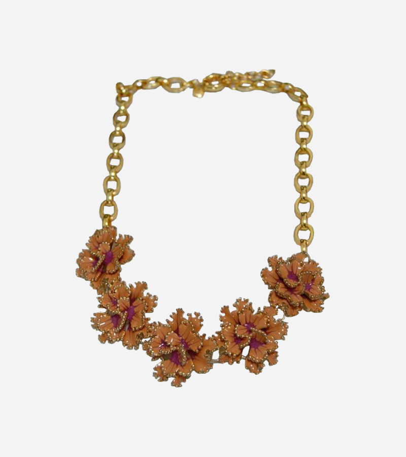 Orange Flower Charms Necklace