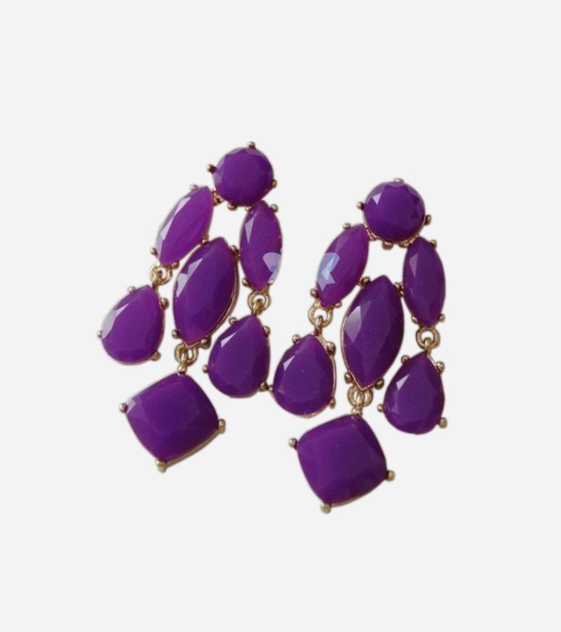 Purple Stones Chandelier-Style Earring