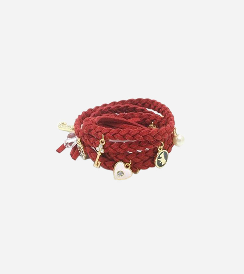 Leather Braid Charm Anklet Cuff Bracelet