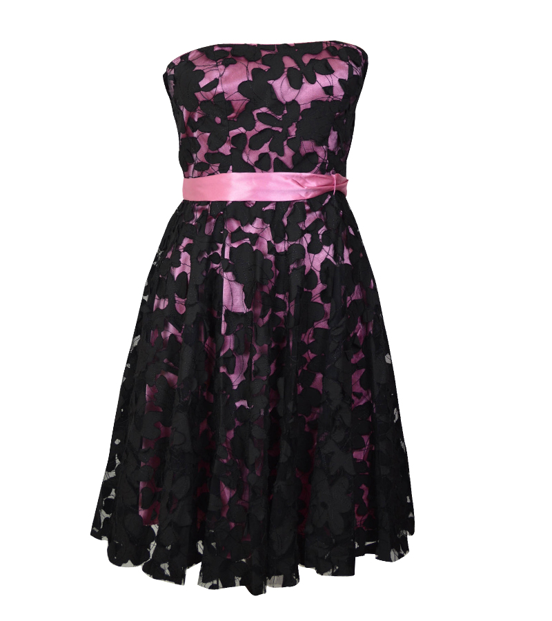 Empire Waist Black Lace Hot Pink