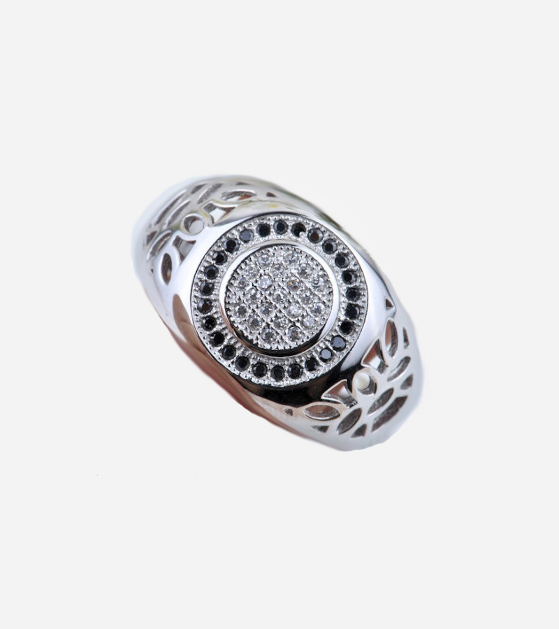 Men's Micro Pave Prong CZ 925 Sterling Silver Ring