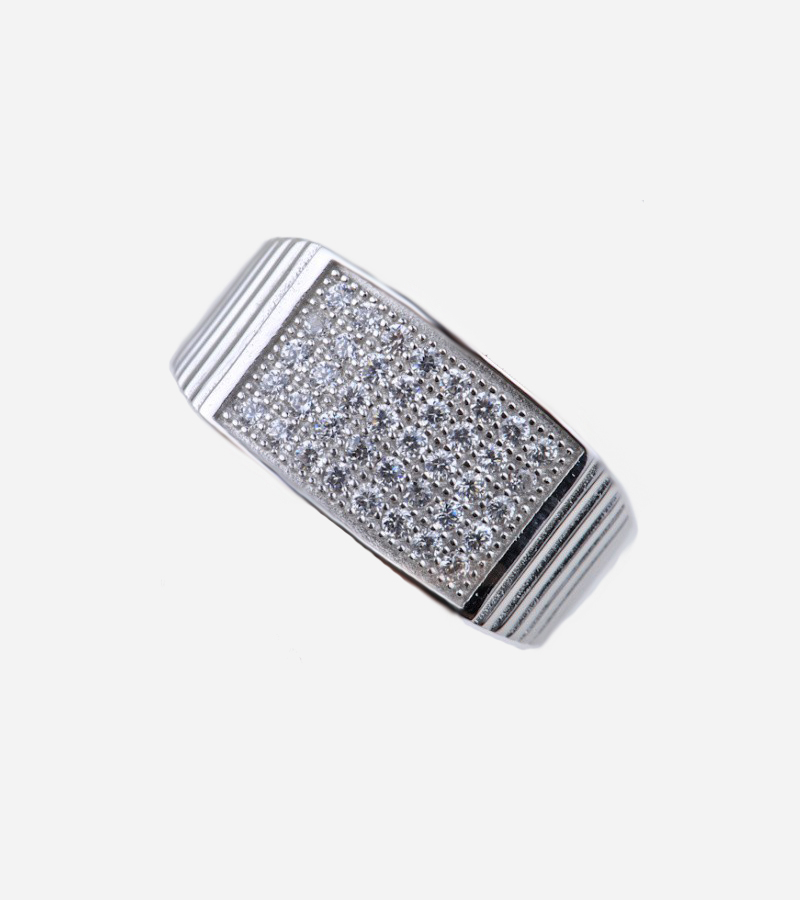 Micro Pave Prong HipHop Silver Men's Ring