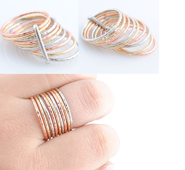 Gold Metal Multi Color Party Ring