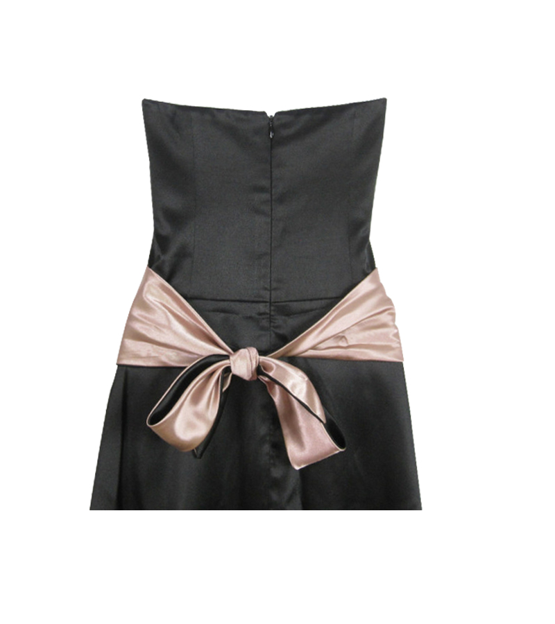 Black Pink Sash Lined Halter Dress