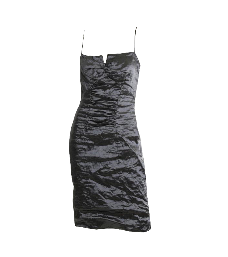 Gray Metallic Ruche Dress