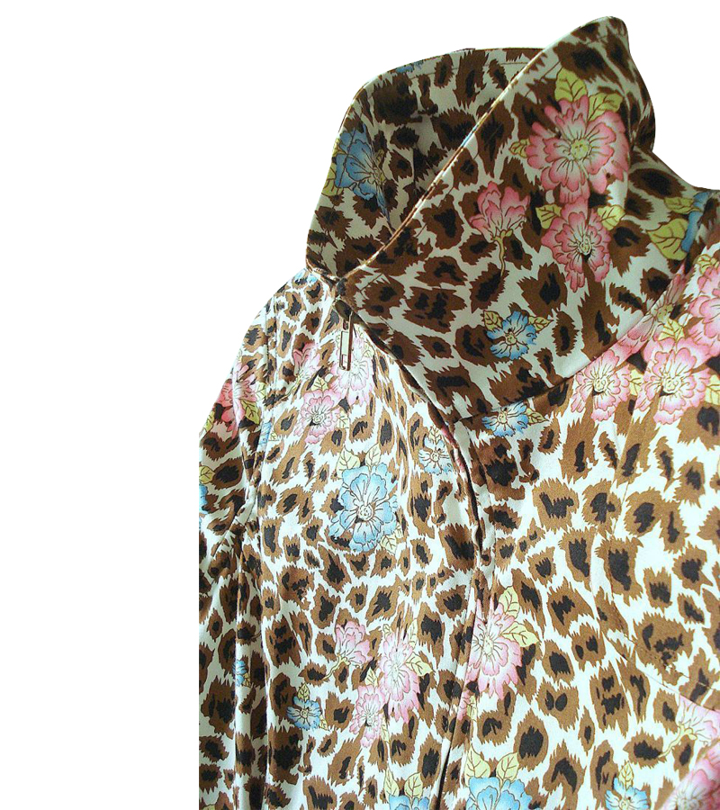 Mixed Animal & Floral Print Trench Coat