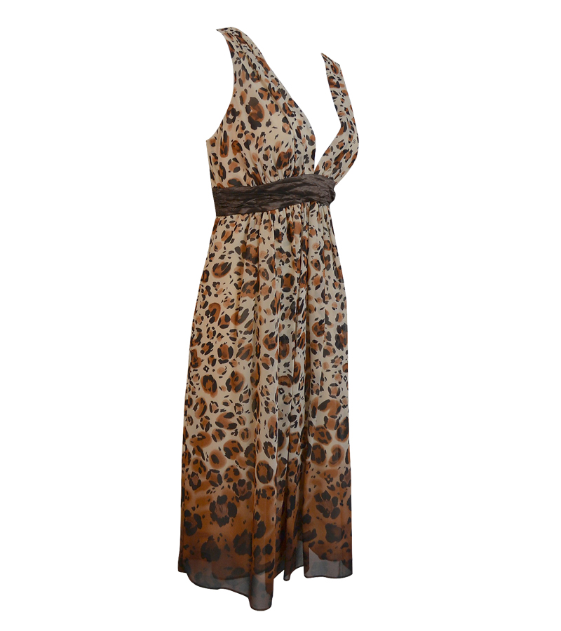 Silk Tan Brown Animal Print Dress