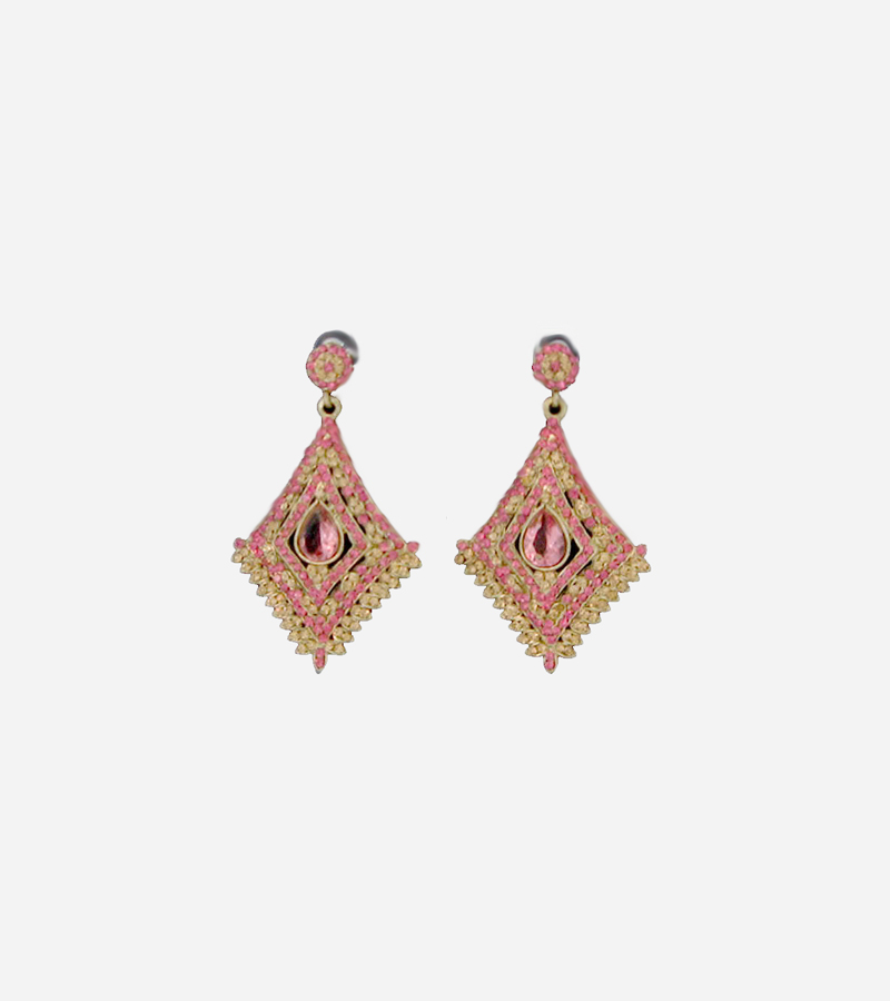 PINK KUNDAN CZ BOLLYWOOD GOLD TONE DANGLE EARRINGS