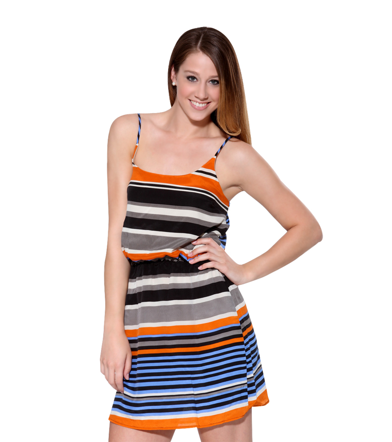 Silk Orange Blue Stripe Dress
