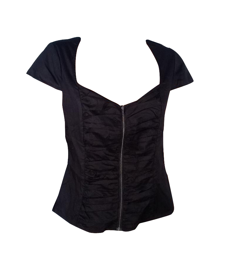 RUCHED ZIPPER BLACK TOP