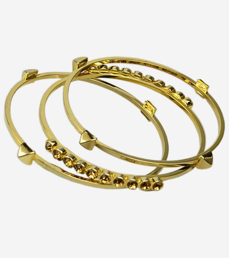 Golden Tone Pyramid and Crystal Set of 3 Bangle