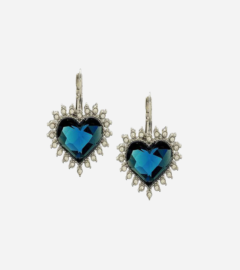 Blue Heart Crystal Earrings