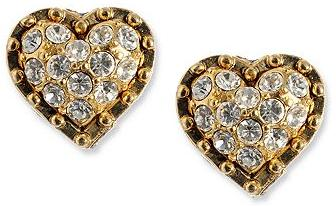 Gold Tone and Crystal Heart Stud Earrings