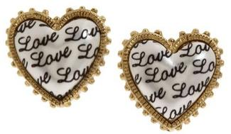 Love Pearl Heart Stud Earrings