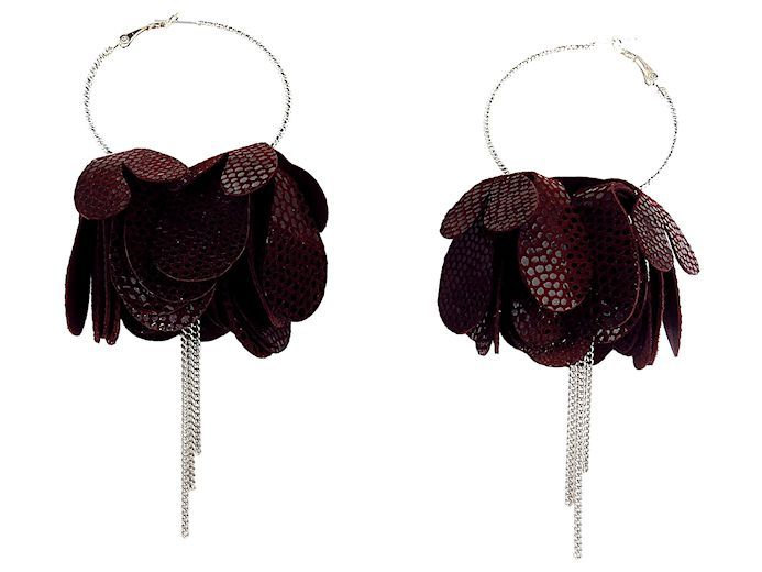 Drop Petal Hoop Earrings with Chains
