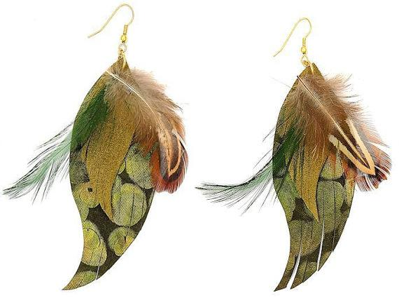 Feather and Suede Fringe Earrings