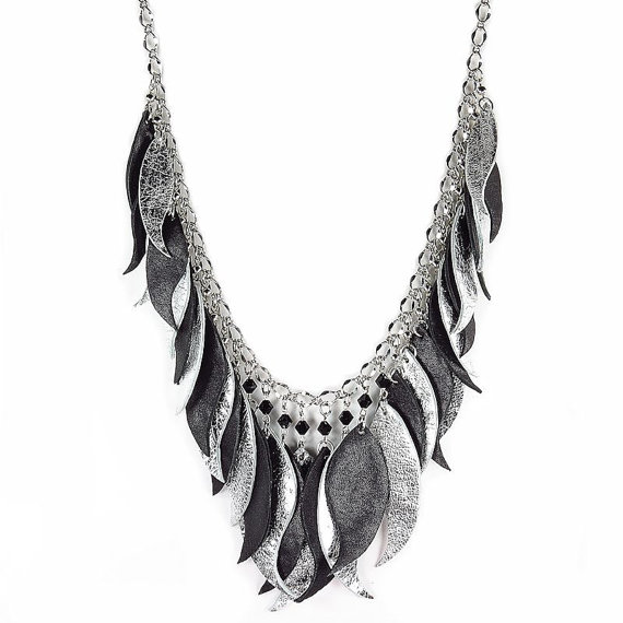 Silver Leather Feather Necklace