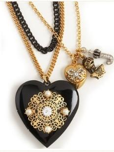Layered Black Heart Locket Necklace