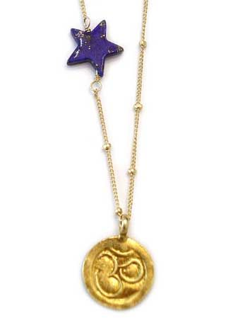 Gold Coin w/Lapis Star Necklace