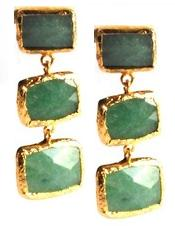 Three Stone Rectangular Jade Earrings